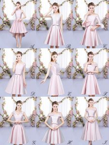 Vintage Satin Halter Top Sleeveless Lace Up Ruching Court Dresses for Sweet 16 in Baby Pink