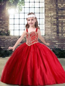 Red Lace Up Straps Beading Little Girls Pageant Dress Tulle Sleeveless