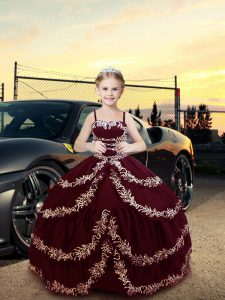 Charming Burgundy Ball Gowns Straps Sleeveless Satin Floor Length Lace Up Embroidery Little Girl Pageant Dress