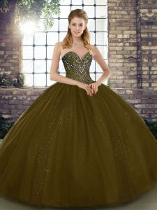 Floor Length Brown Quinceanera Dress Tulle Sleeveless Beading