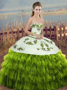 Sweetheart Sleeveless Organza 15th Birthday Dress Embroidery and Ruffled Layers and Bowknot Lace Up