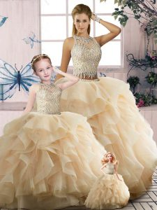 Smart Tulle Sleeveless Floor Length Ball Gown Prom Dress and Beading and Ruffles