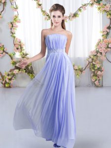 Smart Sweep Train Empire Damas Dress Lavender Strapless Chiffon Sleeveless Lace Up