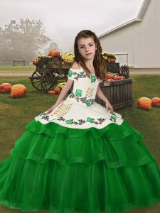 Green Tulle Lace Up Straps Sleeveless Floor Length Pageant Dress for Girls Embroidery and Ruffled Layers