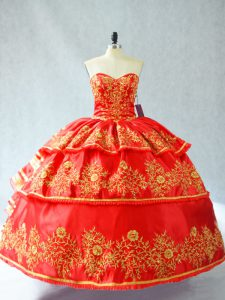 Modest Satin and Organza Sweetheart Sleeveless Lace Up Embroidery and Ruffled Layers Quince Ball Gowns in Red
