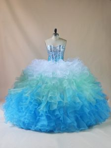 Fabulous Floor Length Multi-color Quinceanera Gowns Sweetheart Sleeveless Lace Up