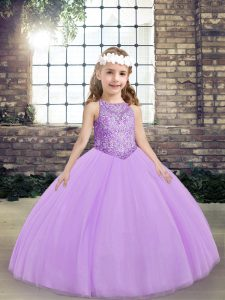 Romantic Lavender Winning Pageant Gowns Party and Wedding Party with Beading Scoop Sleeveless Lace Up