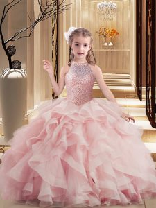 Pink Pageant Dress for Teens Party and Sweet 16 and Wedding Party with Beading and Ruffles Scoop Sleeveless Lace Up