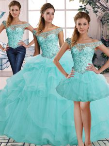 Sleeveless Tulle Floor Length Lace Up Quinceanera Gown in Aqua Blue with Beading and Ruffles