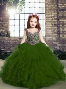 Pretty Floor Length Side Zipper Little Girls Pageant Dress Wholesale Olive Green for Party and Military Ball and Wedding Party with Beading and Ruffles