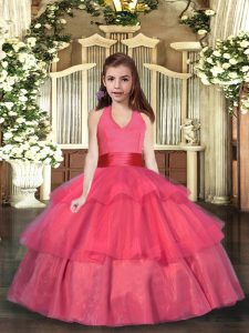 Halter Top Sleeveless Organza Kids Formal Wear Ruffled Layers Lace Up