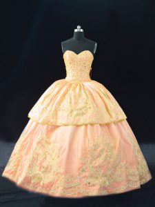 Peach Lace Up Halter Top Appliques Quinceanera Gowns Satin Sleeveless
