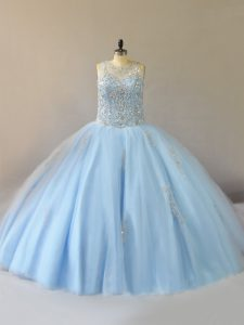 Nice Sleeveless Lace Up Floor Length Beading Vestidos de Quinceanera
