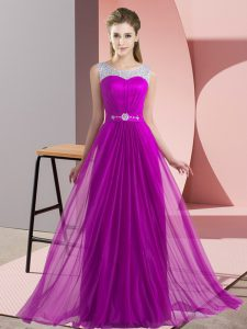 Fancy Sleeveless Lace Up Floor Length Beading Quinceanera Court of Honor Dress