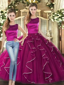 Suitable Sleeveless Ruffles Lace Up Quinceanera Gowns