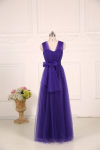Customized Purple Empire Ruching Dama Dress for Quinceanera Zipper Tulle Sleeveless Floor Length