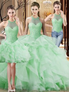 Fabulous Apple Green Three Pieces Halter Top Sleeveless Organza Brush Train Lace Up Beading and Ruffles Quinceanera Gowns