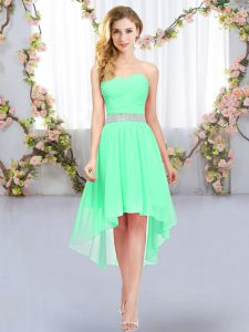 Green Sleeveless High Low Belt Lace Up Quinceanera Dama Dress