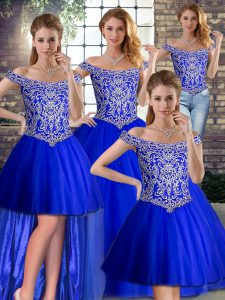 Great Off The Shoulder Sleeveless Quince Ball Gowns Brush Train Beading Royal Blue Tulle