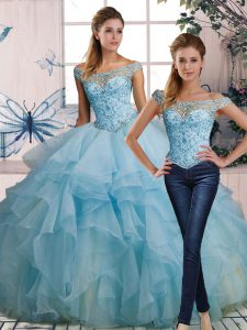 Light Blue Two Pieces Off The Shoulder Sleeveless Organza Floor Length Lace Up Beading and Ruffles Sweet 16 Dress