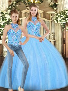 Baby Blue Sleeveless Floor Length Embroidery Lace Up Quinceanera Gowns