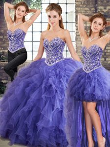 Amazing Lavender Tulle Lace Up 15th Birthday Dress Sleeveless Floor Length Beading and Ruffles