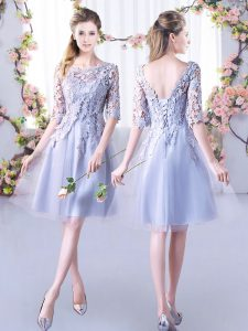 Grey Half Sleeves Tulle Lace Up Damas Dress for Wedding Party