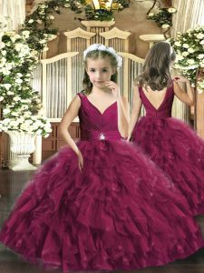 Burgundy Sleeveless Tulle Backless Pageant Dress for Womens for Party and Wedding Party