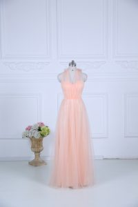 Great Peach Court Dresses for Sweet 16 Wedding Party with Ruching Halter Top Sleeveless Zipper