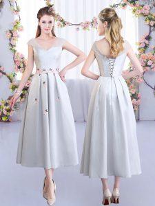 Customized Silver Empire V-neck Cap Sleeves Satin Tea Length Lace Up Appliques Damas Dress