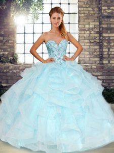 Light Blue Sleeveless Beading and Ruffles Floor Length Sweet 16 Quinceanera Dress