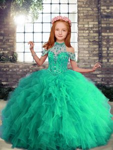 Beading and Ruffles Child Pageant Dress Turquoise Lace Up Sleeveless Floor Length