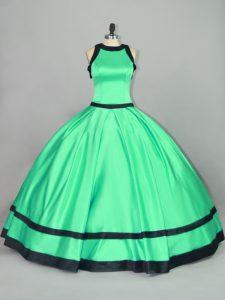 Custom Made Apple Green Vestidos de Quinceanera Sweet 16 and Quinceanera with Ruching Scoop Sleeveless Zipper