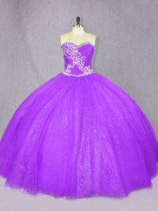 Custom Fit Floor Length Lavender Quinceanera Dress Tulle Sleeveless Beading