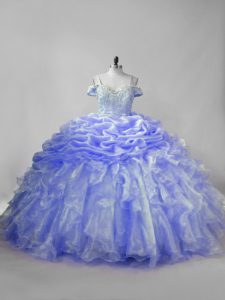 Enchanting Straps Sleeveless Organza Ball Gown Prom Dress Beading and Ruffles and Pick Ups Brush Train Lace Up
