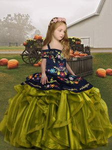 Stunning Straps Sleeveless Little Girls Pageant Gowns Floor Length Embroidery and Ruffles Olive Green Organza