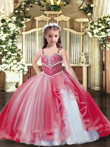 Nice Red Tulle Lace Up Straps Sleeveless Floor Length Kids Pageant Dress Beading