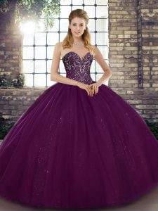 Stylish Tulle Sweetheart Sleeveless Lace Up Beading Quinceanera Dresses in Dark Purple