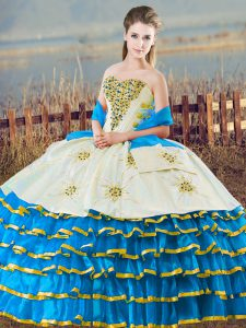 Sweetheart Sleeveless Lace Up 15 Quinceanera Dress Blue And White Organza