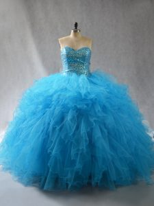 Amazing Sleeveless Lace Up Floor Length Beading and Ruffles Sweet 16 Dresses