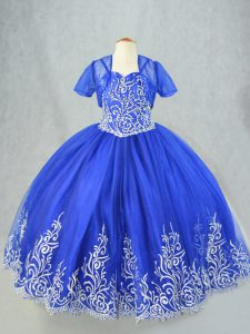Royal Blue Lace Up Little Girls Pageant Dress Beading and Embroidery Sleeveless Floor Length