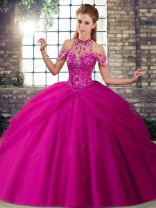 Fitting Halter Top Sleeveless Quince Ball Gowns Brush Train Beading and Pick Ups Fuchsia Tulle