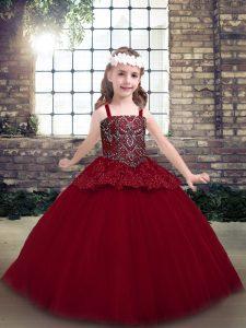 Unique Red Sleeveless Floor Length Beading Zipper Little Girl Pageant Dress