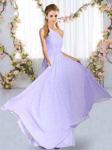 Floor Length Empire Sleeveless Lavender Quinceanera Dama Dress Lace Up
