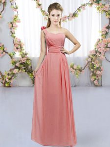 High Class Watermelon Red Empire Hand Made Flower Damas Dress Lace Up Chiffon Sleeveless Floor Length