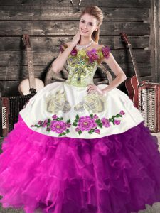 White And Purple Sleeveless Floor Length Embroidery and Ruffles Lace Up Quinceanera Dress