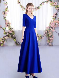 Elegant V-neck Half Sleeves Vestidos de Damas Ankle Length Ruching Royal Blue Satin