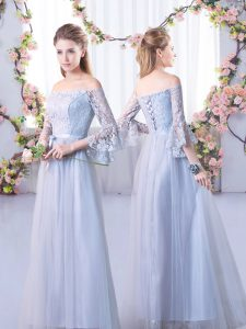 Trendy Grey Tulle Lace Up Off The Shoulder 3 4 Length Sleeve Floor Length Dama Dress Lace