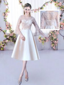 Tea Length A-line 3 4 Length Sleeve Champagne Vestidos de Damas Lace Up