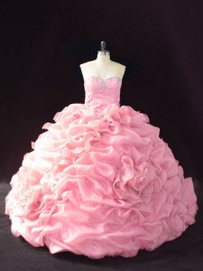 Attractive Sweetheart Sleeveless Court Train Lace Up Sweet 16 Quinceanera Dress Pink Organza